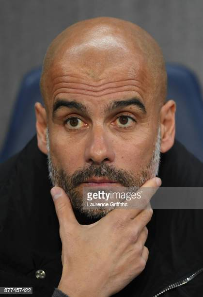 Josep Guardiola of Manchester City looks on prior to the UEFA Champions League group F match between Manchester City and Feyenoord at Etihad Stadium...