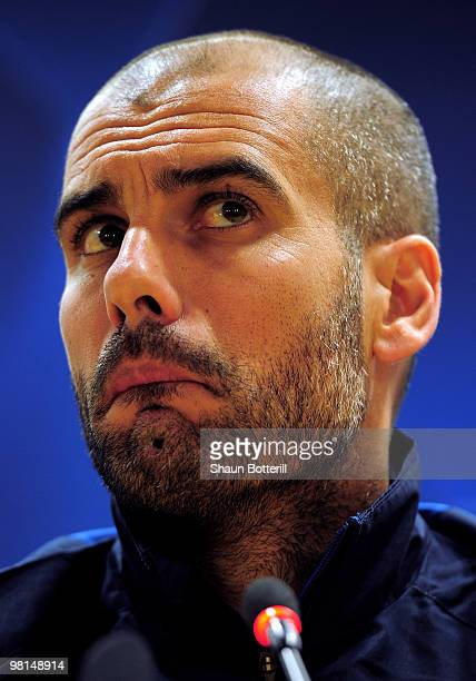 Josep Guardiola the Barcelona coach talks to the media during a press conference ahead of their UEFA Champions League quarter final first leg match...
