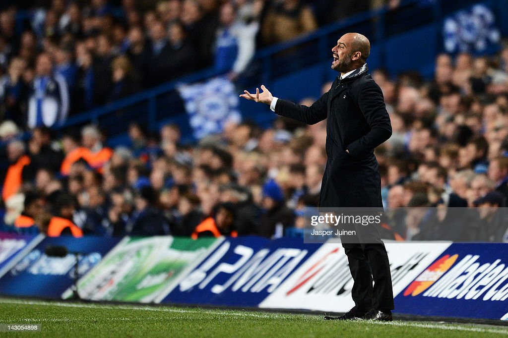 Josep Guardiola the Barcelona manager shouts instructions to his players during the UEFA Champions League Semi Final first leg match between Chelsea and Barcelona at Stamford Bridge on April 18, 2012 in London, England.