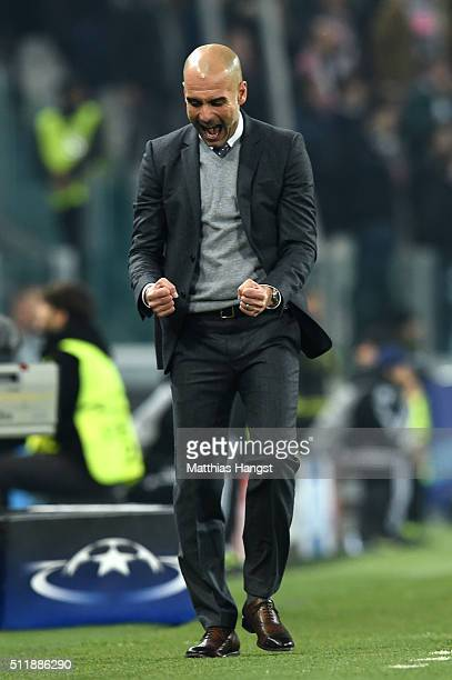 Josep Guardiola the head coach of Bayern Muenchen celebrates as Thomas Muller of Bayern Muenchen gives their team a 10 lead during the UEFA Champions...