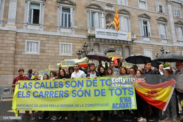Josep Lago President of S'Ha acabat seen behind a large banner with other protesters during the demonstration The new S'Ha Acabat Association in...