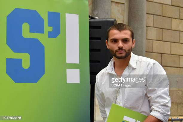 Josep Lago President of S'Ha acabat seen next to the S'Ha Acabat logo during the demonstration The new S'Ha Acabat Association in Barcelona is an...