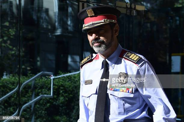 Josep Luis Trapero chief of the Catalan police Mossos d'Esquadra who is under investigation for sedition leaves the High Court in Madrid on October 6...