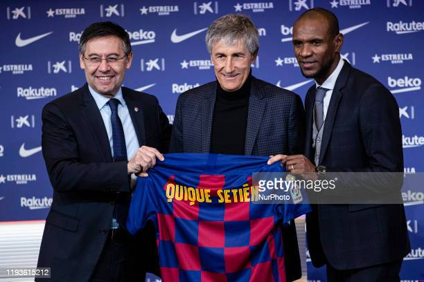 Josep Maria Bartoemu president of FC Barcelona and Eric Abidal during the presentation of Quique Setien as a new coach of FC Barcelona with contract...
