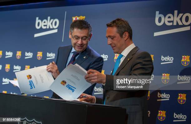 Josep Maria Bartomeu and Ali Koc attend a press presentation as Barcelona FC and Beko announce a sponsorship agreement atCamp Nou Auditori 1899 on...
