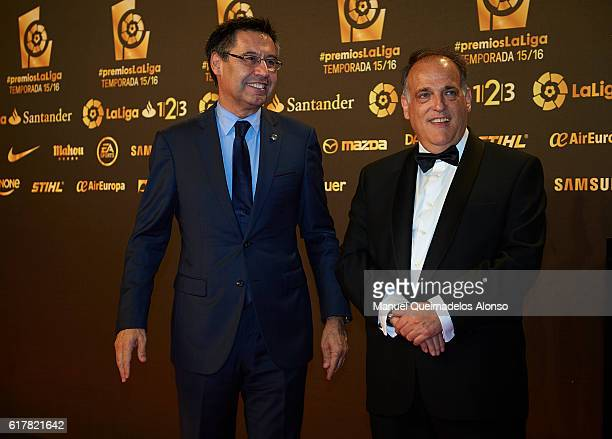 Josep Maria Bartomeu and Javier Tebas attend the LFP Soccer Awards Gala 2016 at Palacio de Congresos on October 24 2016 in Valencia Spain