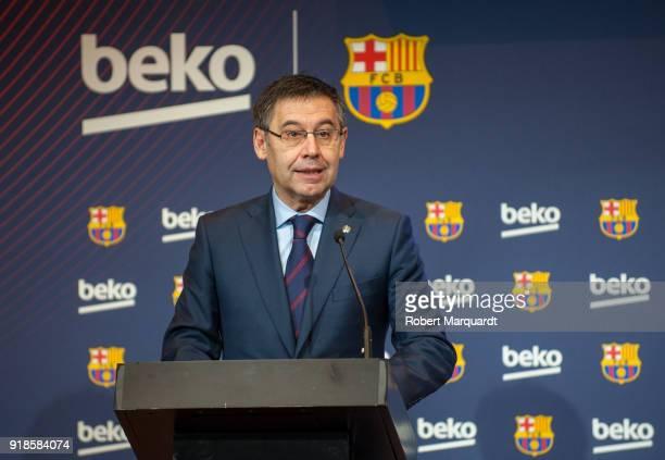 Josep Maria Bartomeu attends a press presentation as Barcelona FC and Beko announce a sponsorship agreement atCamp Nou Auditori 1899 on February 15...