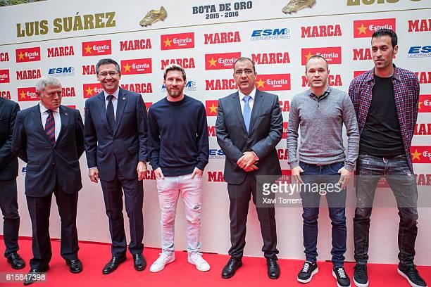 Josep Maria Bartomeu, Leo Messi, Andres Iniesta and Sergio Busquets attend the 'Balon de Oro' award on October 20, 2016 in Barcelona, Spain.