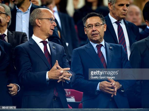 Josep Maria Bartomeu president of Barcelona looks on prior the La Liga match between Barcelona and Malaga at Camp Nou on October 21, 2017 in...