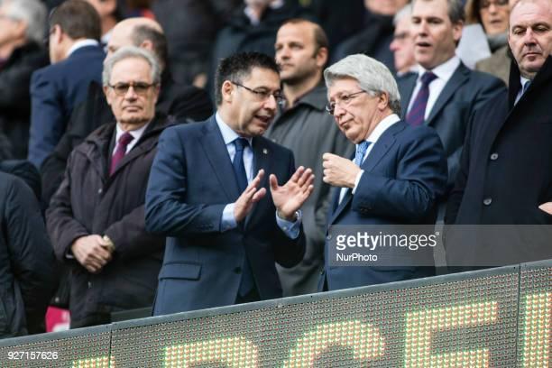 Josep Maria Bartomeu president of FC Barcelona and Enrique Cerezo president of Atletico de Madrid during La Liga match between FC Barcelona v...
