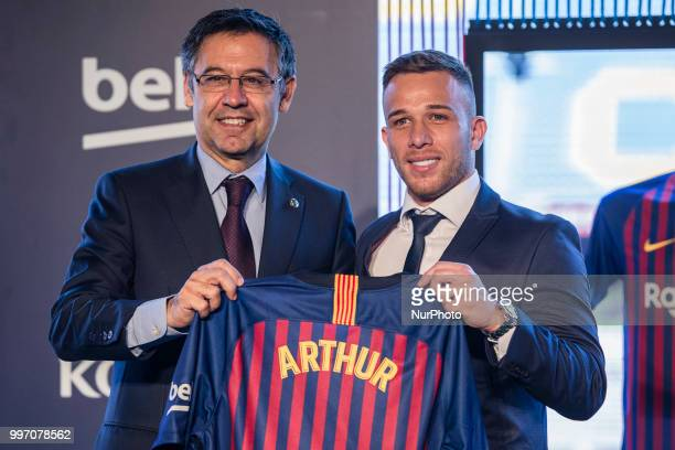 Josep Maria Bartomeu president of FC Barcelona at the presentation of Arthur Melo from Brasil after being the first new signing for FC Barcelona...