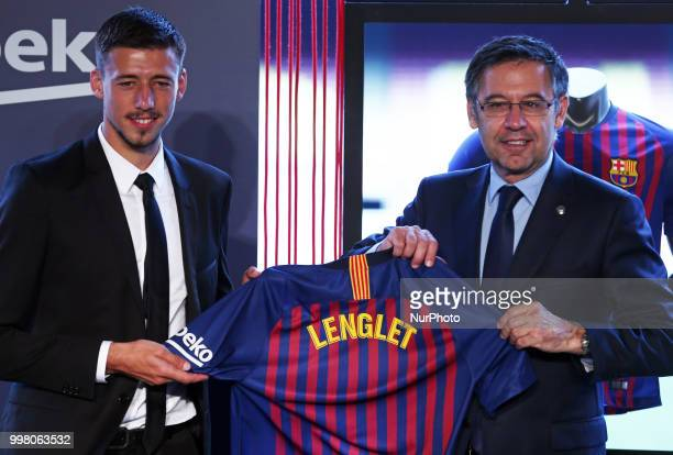 Josep Maria Bartomeu president of FC Barcelona during the presentation of Clement Lenglet as a new player of FC Barcelona on 13th July in Barcelona...
