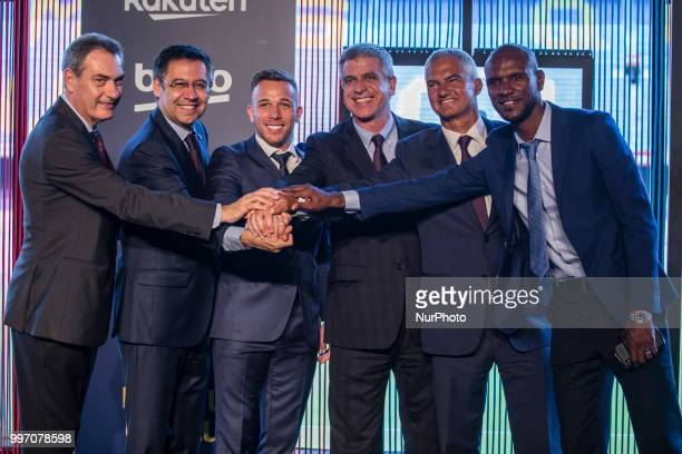 Josep Maria Bartomeu president of FC Barcelona Eric Abidal and Jordi Mestre at the presentation of Arthur Melo from Brasil after being the first new...