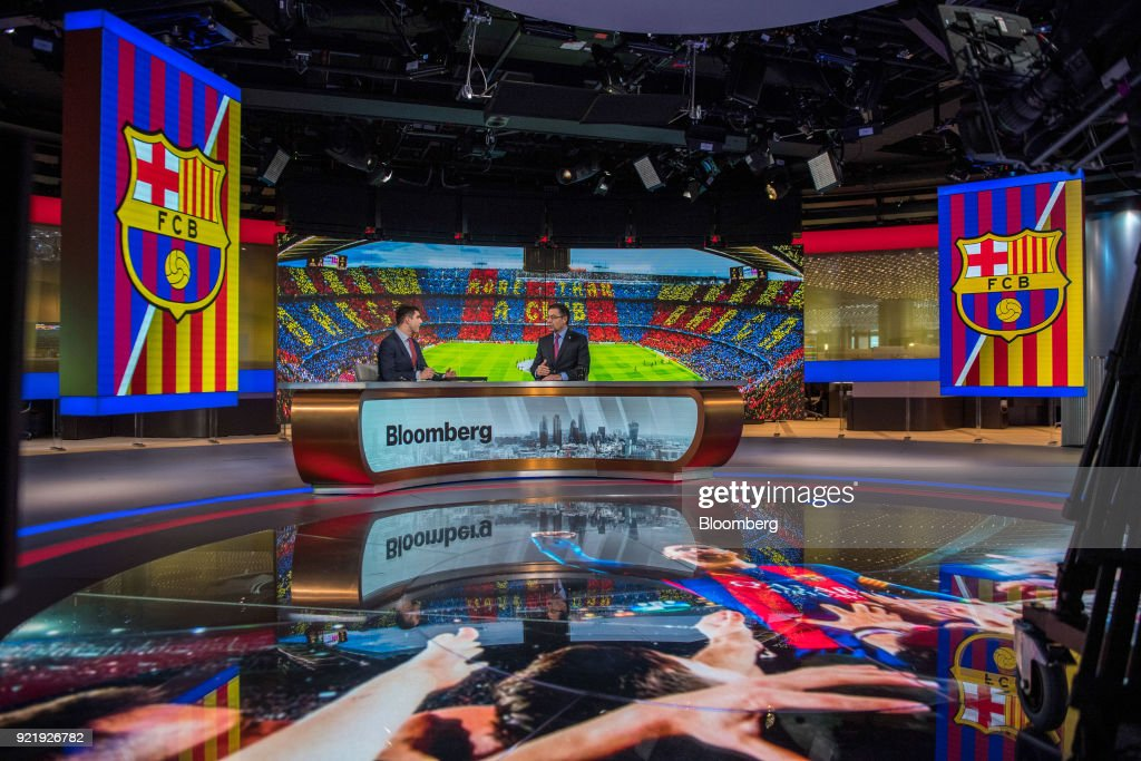 Josep Maria Bartomeu, president of FC Barcelona, gestures while speaking in an interview with Bloomberg Television's Ed Ludlow in London, U.K., on Tuesday, Feb. 20, 2018. Barcelona is likely to reach its goal of 1 billion euros ($1.2 billion) in sales ahead of schedule as income from broadcast rights and tickets surges, Bartomeu said. Photographer: Chris J. Ratcliffe/Bloomberg via Getty Images