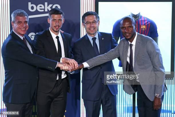 Josep Maria Bartomeu president of FC Barcelona Jordi Mestre vicepresident of FC Barcelona and Eric Abidal technical director during the presentation...