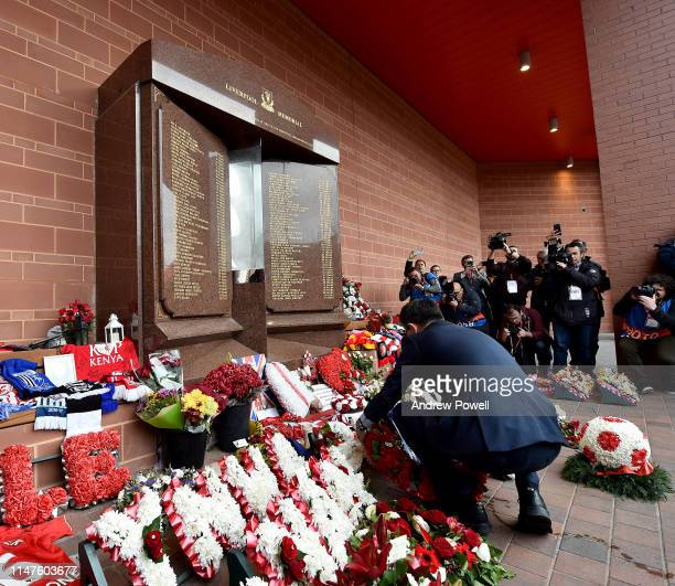 Josep Maria Bartomeu President of FC Barcelona laying a wreath at the Hillsborough Memorial before the UEFA Champions League Semi Final second leg...