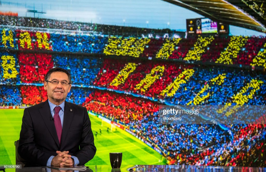 Josep Maria Bartomeu, president of FC Barcelona, pauses during a Bloomberg Television interview in London, U.K., on Tuesday, Feb. 20, 2018. Barcelona is likely to reach its goal of 1 billion euros ($1.2 billion) in sales ahead of schedule as income from broadcast rights and tickets surges, Bartomeu said. Photographer: Chris J. Ratcliffe/Bloomberg via Getty Images