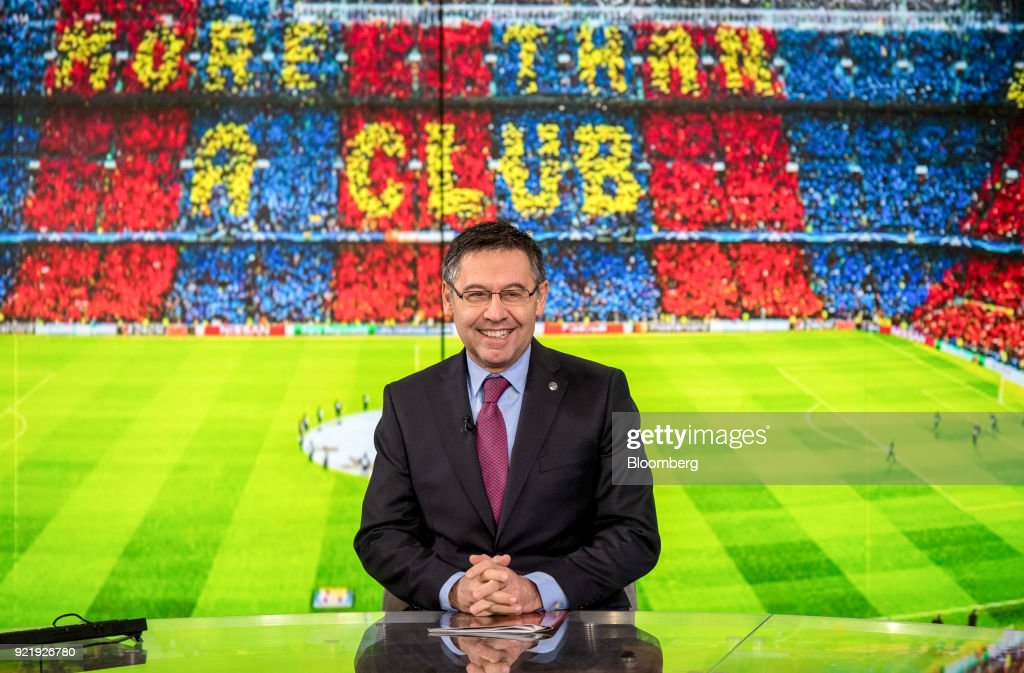 Josep Maria Bartomeu, president of FC Barcelona, reacts during a Bloomberg Television interview in London, U.K., on Tuesday, Feb. 20, 2018. Barcelona is likely to reach its goal of 1 billion euros ($1.2 billion) in sales ahead of schedule as income from broadcast rights and tickets surges, Bartomeu said. Photographer: Chris J. Ratcliffe/Bloomberg via Getty Images