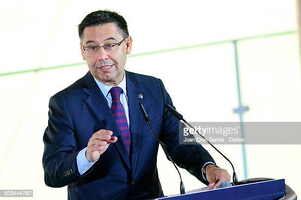 Josep Maria Bartomeu the president of FCBarcelona attends a press conference during the Nou Camp Nou launch on April 21 2016 in Barcelona Spain
