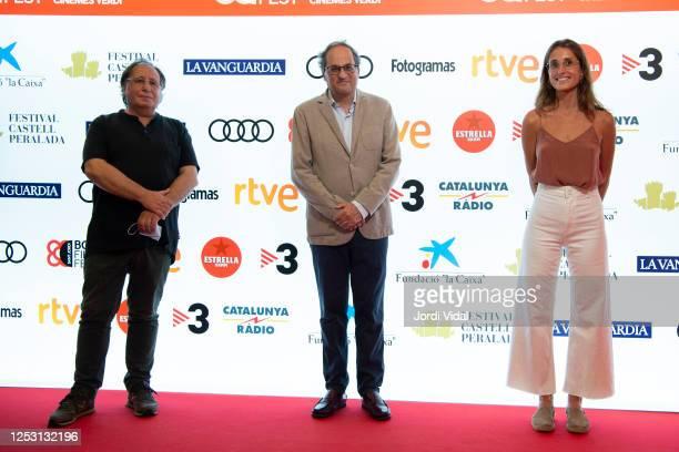 Josep Maria Mane President of Generalitat de Catalunya Quim Torra and Francesca Catala attend Maragall i la Lluna premiere photocall during BCN Film...