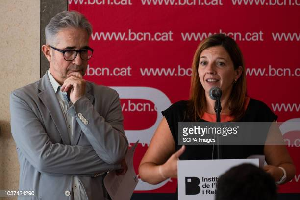 Josep Maria Montaner and Laia Ortiz are seen making a speech during the hand over event Handing over of 47 public rental houses to new residents by...
