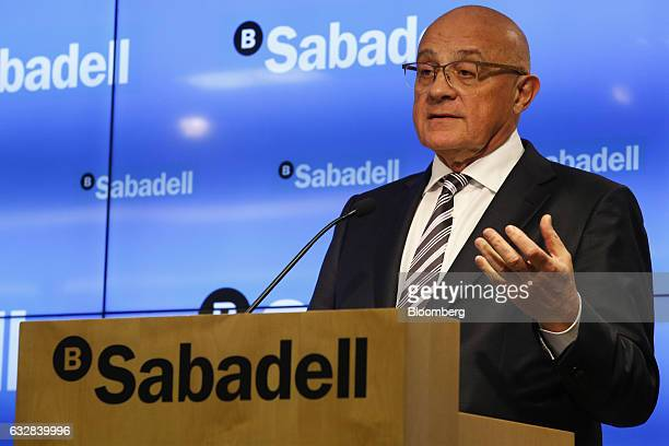 Josep Oliu, chairman of Banco de Sabadell SA, gestures as he speaks during a news conference to announce company earnings in Barcelona, Spain, on...