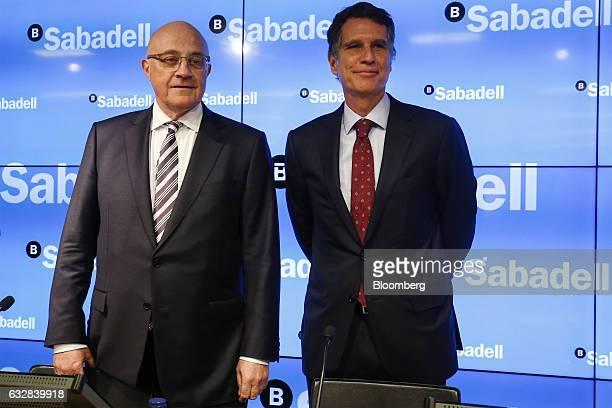 Josep Oliu, chairman of Banco de Sabadell SA, left, Jaime Guardiola, chief executive officer of Banco de Sabadell SA, pose for a photograph before a...