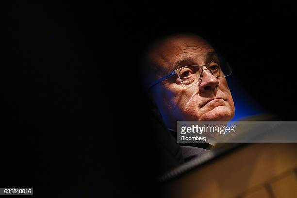 Josep Oliu, chairman of Banco de Sabadell SA, looks on during a news conference to announce company earnings in Barcelona, Spain, on Friday, Jan. 27,...
