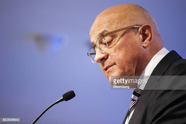 Josep Oliu, chairman of Banco de Sabadell SA, speaks during a news conference to announce company earnings in Barcelona, Spain, on Friday, Jan. 27,...