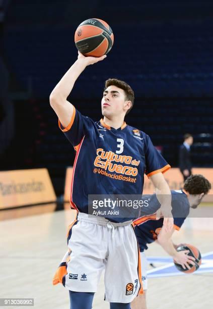 Josep Puerto #3 of Valencia Basket warmsup prior to the 2017/2018 Turkish Airlines EuroLeague Regular Season Round 21 game between Anadolu Efes...