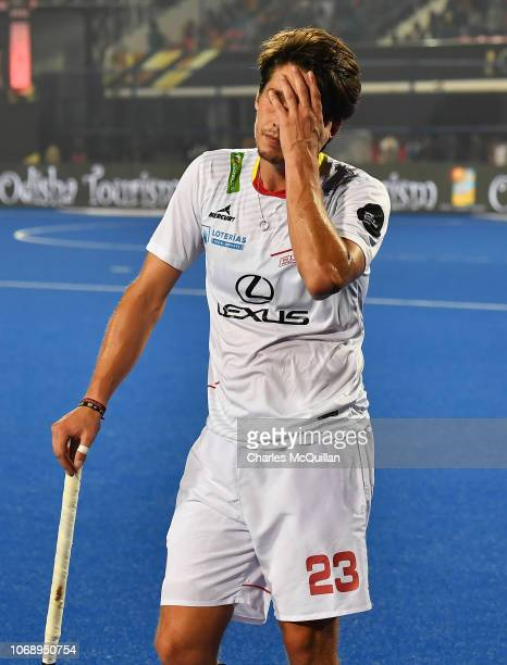 Josep Romeu of Spain reacts after the FIH Men's Hockey World Cup Pool A match between Spain and New Zealand at Kalinga Stadium on November 6 2018 in...