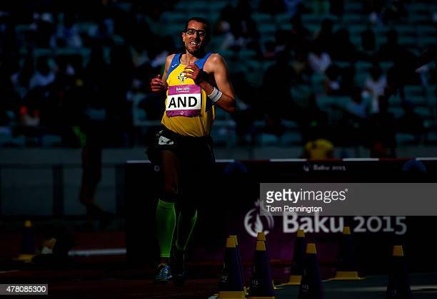 Josep Sansa Bullich of Andorra competes in the Men's 3000 metres steeplechase during day ten of the Baku 2015 European Games at the Olympic Stadium...