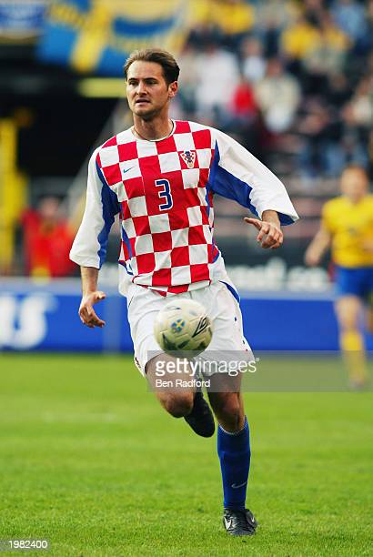 Josep Simunic of Croatia makes a break during the International Friendly match between Sweden and Croatia held on April 30 2003 at the Rasunda...