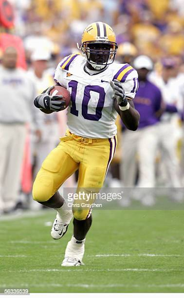 Joseph Addai of the Louisiana State University Tigers carries the ball during the game with the University of Arkansas Razorbacks on November 25,...
