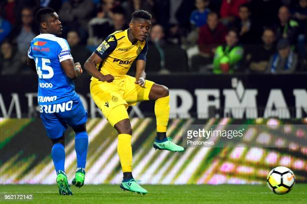 Joseph Aidoo defender of KRC Genk Anthony Limbombe forward of Club Brugge during the Jupiler Pro League play off 1 match between KRC Genk and Club...