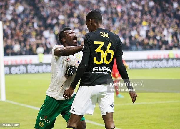 Joseph Aidoo of Hammarby IF and Alexander Isak of AIK in a fight during the allsvenskan match between AIK and Hammarby at Friends arena on August 28...