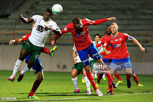 Joseph Aidoo of Hammarby IF and Frederik Helstrup Jensen of Helsingborgs IF during the Allsvenskan match between Helsingborgs IF and Hammarby IF at...