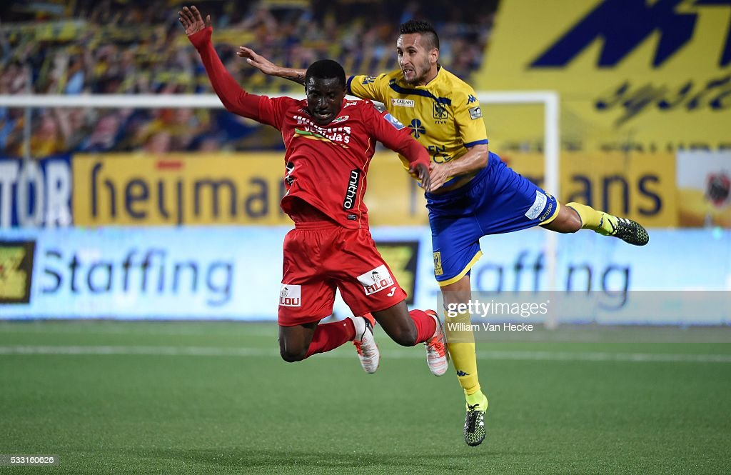 Joseph Akpala Forward Of Oostende Pictured During The Jupiler Pro League Match Between Stvv And Kv