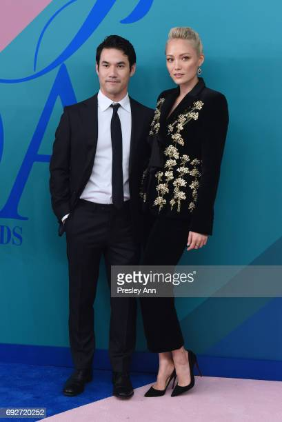 Joseph Altuzarra and Pom Klementieff attends the 2017 CFDA Fashion Awards at Hammerstein Ballroom on June 5 2017 in New York City