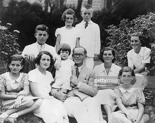 Joseph and Rose Kennedy pose with eight of their children Front Row Patricia Rose and Joseph Kennedy with baby Edward Rosemary Eunice and Kathleen...