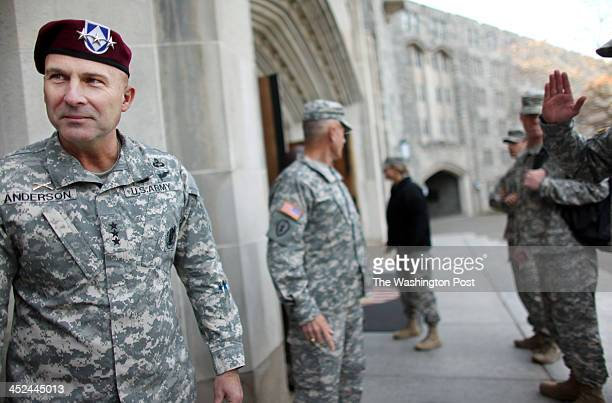 Joseph Anderson Commander of the 18th Airborne Corps chats in front of the mess hall of the United States Military Academy in West Point NY on...