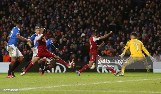 Joseph Aribo of Rangers scores his team's second goal during the UEFA Europa League round of 32 first leg match between Rangers FC and Sporting Braga...
