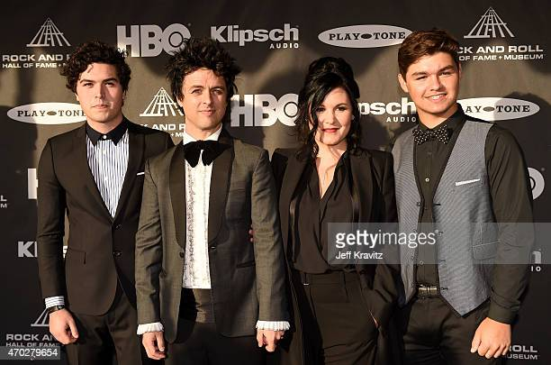 Joseph Armstrong inductee Billie Joe Armstrong Adrienne Armstrong and Jakob Armstrong attend the 30th Annual Rock And Roll Hall Of Fame Induction...