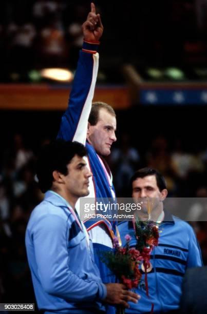 Joseph Atiyeh Lou Banach Vasile Pucau Men's Wrestling medal ceremony Anaheim Convention Center at the 1984 Summer Olympics August 7 1984