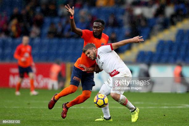 Joseph Attamah of Istanbul Basaksehir Moestafa El Kabir of Antalyaspor during the Turkish Super lig match between Istanbul Basaksehir v Antalyaspor...