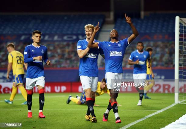 Joseph AyodeleAribo of Rangers FC celebrates after scoring his team's third goal during the Ladbrokes Scottish Premiership match between Rangers and...
