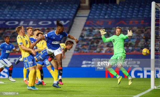 Joseph AyodeleAribo of Rangers FC scores his team's third goal past Elliott Parish of St Johnstone during the Ladbrokes Scottish Premiership match...