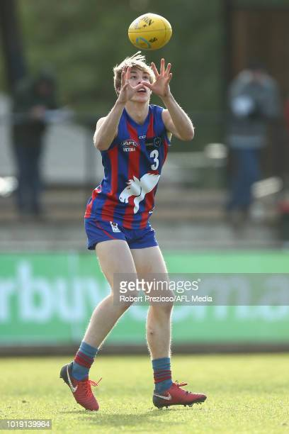 Joseph AytonDelaney of Oakleigh Chargers marks during the TAC Cup round 15 match between Oakleigh Chargers and Sandringham Dragons at Avalon Airport...