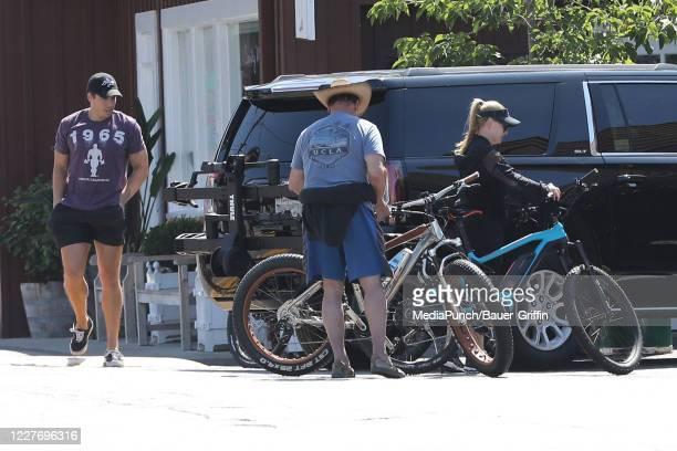 Joseph Baena Arnold Schwarzenegger and Heather Milligan are seen on July 19 2020 in Los Angeles California