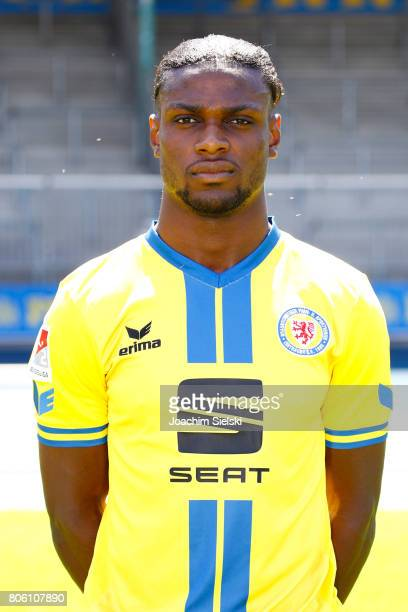 Joseph Baffo of Eintracht Braunschweig poses during the official team presentation of Eintracht Braunschweig at Eintracht Stadion on July 3 2017 in...